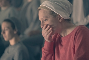 "THE HANDMAID'S TALE -- ""Postpartum"" -- Episode 212 -- Offred is sent to a familiar place. Nick is rocked by Gileadís brutal response to a crime. Emily is assigned to a mysterious new house. Offred (Elisabeth Moss), shown. (Photo by: George Kraychyk/Hulu)"
