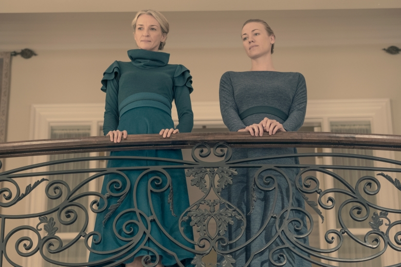 "THE HANDMAID'S TALE -- ""The Word"" -- Episode 213 -- Serena and the other Wives strive to make change. Emily learns more about her new Commander. Offred faces a difficult decision. Naomi (Ever Carradine) and Serena Joy (Yvonne Strahovski), shown. (Photo by: George Kraychyk/Hulu)"