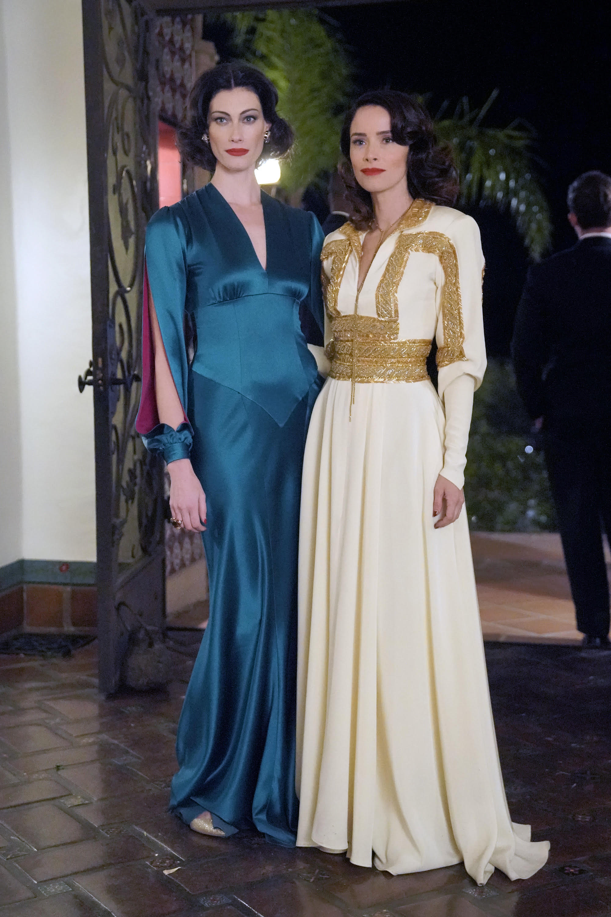 "TIMELESS -- ""Hollywoodland"" Episode 203 -- Pictured: (l-r) Alyssa Sutherland as Hedy Lamar, Abigail Spencer as Lucy Preston -- (Photo by: Paul Drinkwater/NBC)"