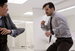 "Liang Yang and Henry Cavill in ""Mission Impossible - Fallout"""