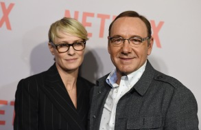 "Robin Wright, left, and Kevin Spacey arrive at the Q&A Screening of ""The House Of Cards"" at the Samuel Goldwyn Theater, in Beverly Hills, CalifLA Q&A Screening Of ""The House Of Cards"", Beverly Hills, USA"