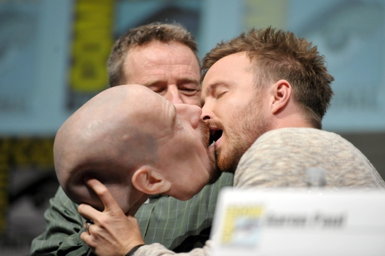 Actors Bryan Cranston, left, and Aaron Paul attend AMC's 'Breaking Bad' panel, on in San Diego, Calif2013 Comic-Con - AMC's Breaking Bad, San Diego, USA - 21 Jul 2013