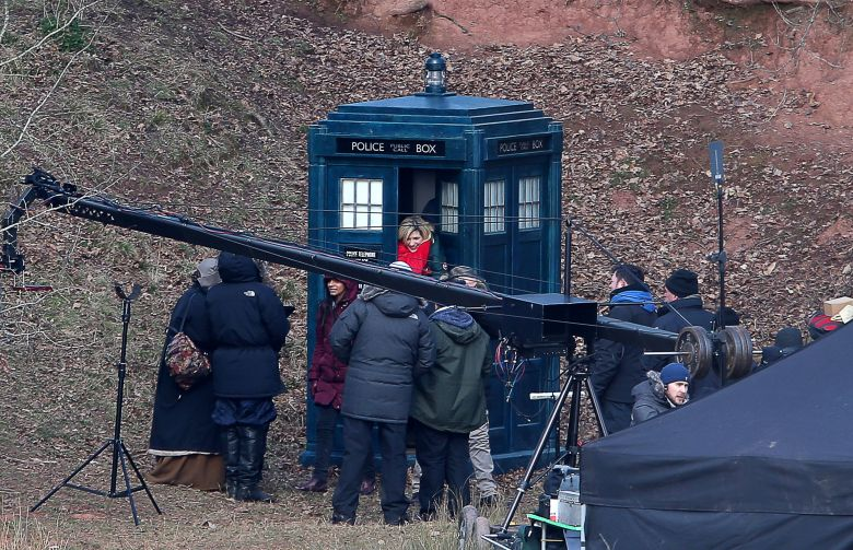Jodie Whittaker and Tosin Cole during Doctor Who Filming near Monmouth, South Wales.'Doctor Who' on set filming, Monmouth, Wales - 28 Feb 2018