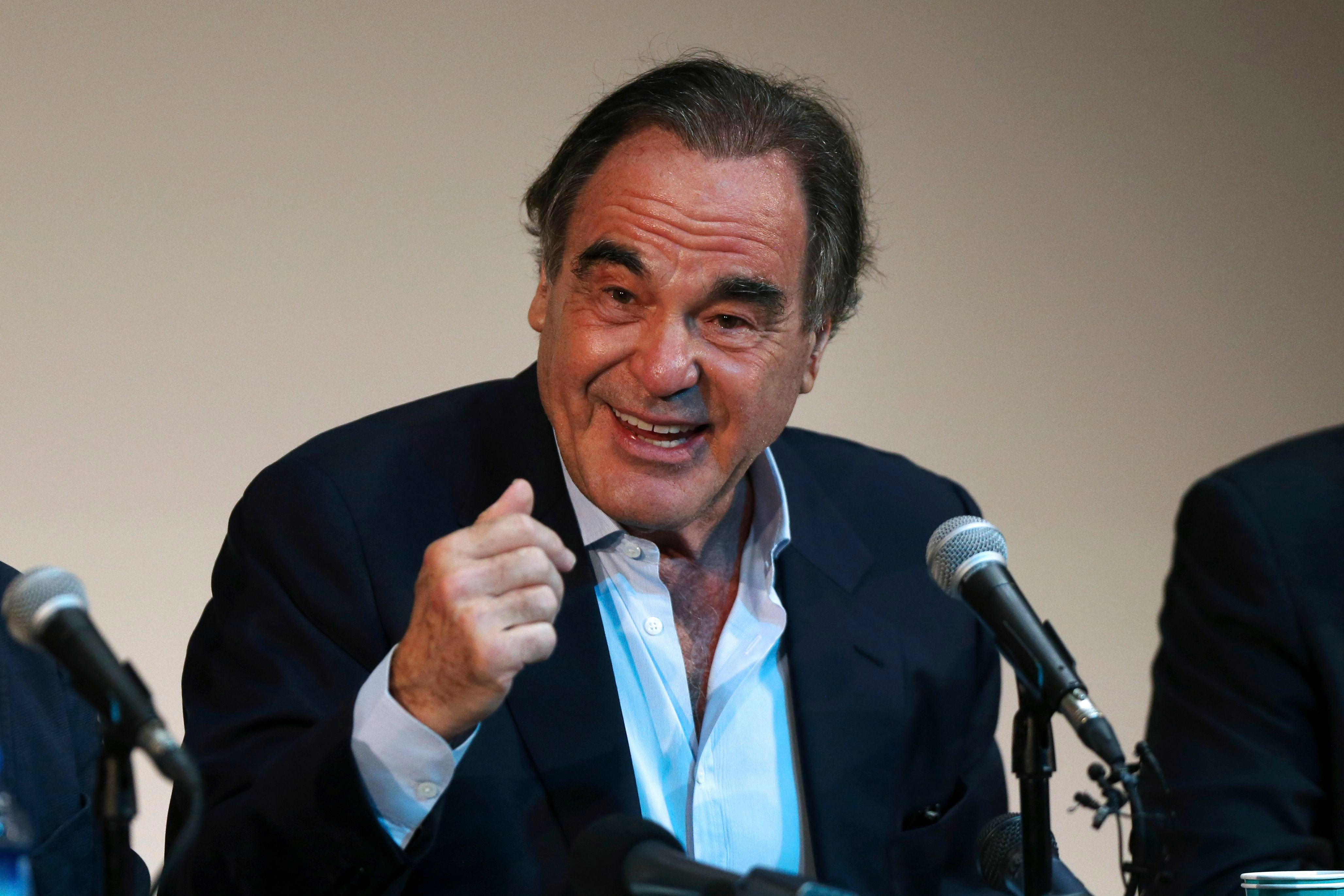 American movie director Oliver Stone speaks during a news conference in the Fajr International Film Festival in Tehran, IranPeople Oliver Stone, Tehran, Iran - 25 Apr 2018