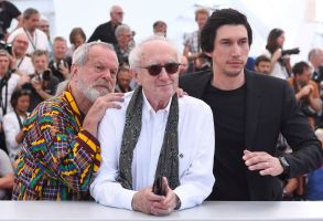 Terry Gilliam, Jonathan Pryce, Adam Driver. Director Terry Gilliam, from left, actors Jonathan Pryce and Adam Driver pose for photographers during a photo call for the film 'The Man Who Killed Don Quixote' at the 71st international film festival, Cannes, southern France2018 The Man Who Killed Don Quixote Photo Call, Cannes, France - 19 May 2018