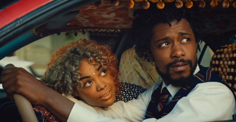 (l to r.) Tessa Thompson as Detroit and Lakeith Stanfield as Cassius Green star in Boots Riley's SORRY TO BOTHER YOU, an Annapurna Pictures release.