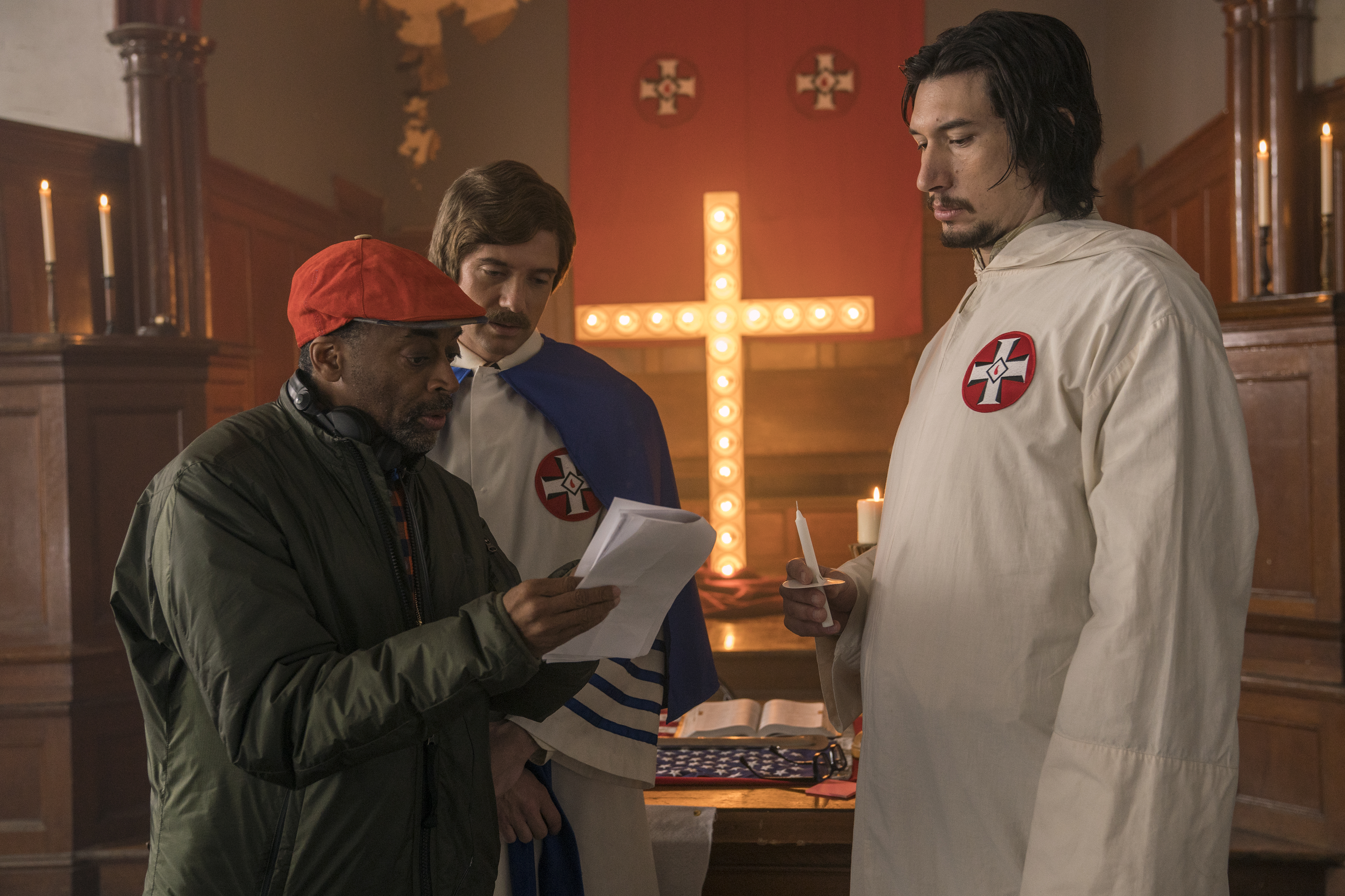 Spike Lee, Topher Grace and Adam Driver on the set of
