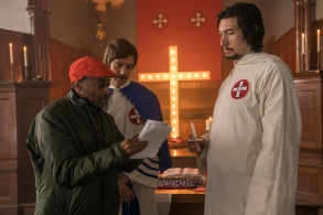 "Spike Lee, Topher Grace and Adam Driver on the set of ""BlacKkKlansman"""