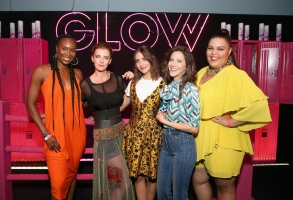 LOS ANGELES, CA - JULY 29: (L-R) Sydelle Noel, Betty Gilpin, Alison Brie, Jackie Tohn and Britney Young attend the FYC GLOW Skate Party at World on Wheels on July 29, 2018 in Los Angeles, California.  (Photo by Phillip Faraone/Getty Images for Netflix) *** Local Caption *** Sydelle Noel;Betty Gilpin;Alison Brie;Jackie Tohn;Britney Young