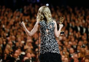 """Laura Dern accepts the award for outstanding supporting actress in a limited series or movie for """"Big Little Lies"""" on the red carpet stage at the 69th Primetime Emmy Awards, at the Microsoft Theater in Los Angeles69th Primetime Emmy Awards - Red Carpet Stage, Los Angeles, USA - 17 Sep 2017"""