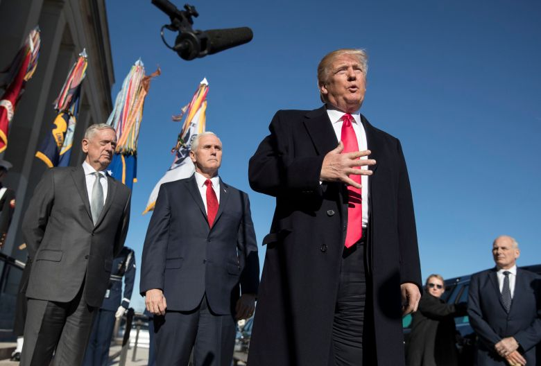 Donald Trump, John Kelly, Mike Pence, Jim Mattis. President Donald Trump, joined by Defense Secretary Jim Mattis, left, Vice President Mike Pence, second from left, and White House Chief of Staff John Kelly, right, speaks to the media as he arrives at the PentagonTrump, Washington, USA - 18 Jan 2018