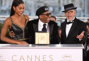 Spike Lee, Barry Alexander Brown, Laura Harrier. Director Spike Lee, centre, poses with actress Laura Harrier, left, and editor Barry Alexander Brown after winning the Grand Prix award for the film 'BlackKklansman' following the awards ceremony at the 71st international film festival, Cannes, southern France2018 Awards Photo Call, Cannes, France - 19 May 2018