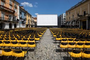 Chairs are placed in front of a big screen on the Piazza Grande square one day before the beginning of the 71st Locarno International Film Festival, in Locarno, Switzerland, 31 July 2018. The Festival del film Locarno 2018 runs from 01 to 11 August.71st Locarno Film Festival, Switzerland - 31 Jul 2018