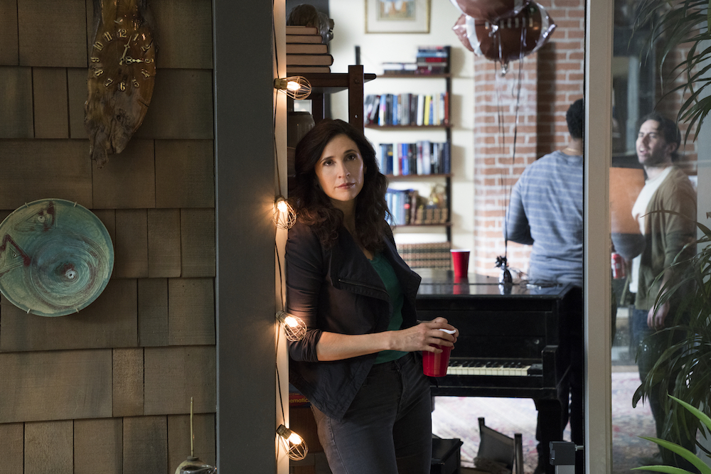 """CASUAL -- """"The Last Super Bowl"""" - Episode 405 - During Alex's Last Super Bowl party gone awry, Valerie introduces John to the gang as Alex processes Rae's decision to move out. Laura has a chance run-in with Tathiana. And Leon and Leia are at an impasse after Leia's recent revelation. Valarie Meyers (Michaela Watkins) shown. (Photo by: Greg Lewis/Hulu)"""