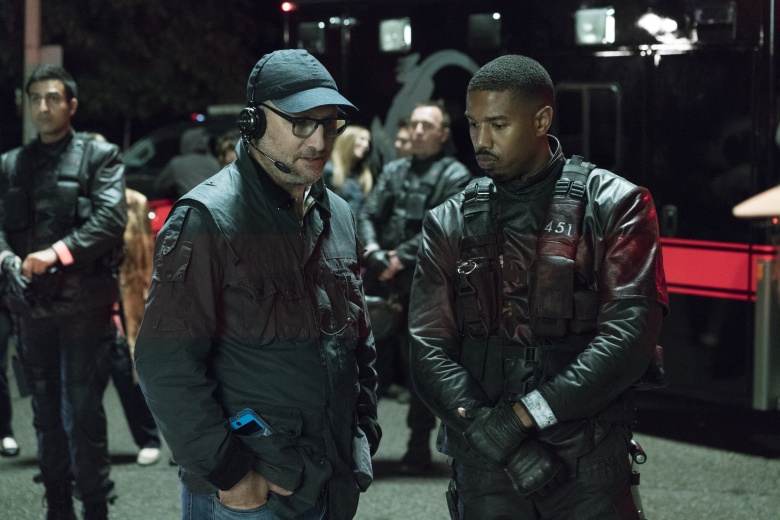 "Kramer Morgenthau and Michael B. Jordan on the set of ""Fahrenheit 451"""
