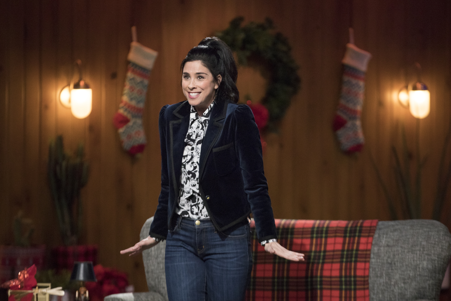 I LOVE YOU, AMERICA -- Sarah gets into the holiday spirit by discussing the War on Christmas and sends comedian Kate Berlant to lead a tour group in Washington DC. Writer Roxane Gay is her guest. Sarah Silverman, shown. (Photo by: Erin Simkin/Hulu)