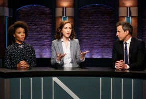 LATE NIGHT WITH SETH MEYERS -- Episode 667 -- Pictured: (l-r) Amber Ruffin, Ally Hord and host Seth Meyers during 'Point, Counter Point' sketch on April 3, 2018 -- (Photo by: Lloyd Bishop/NBC)