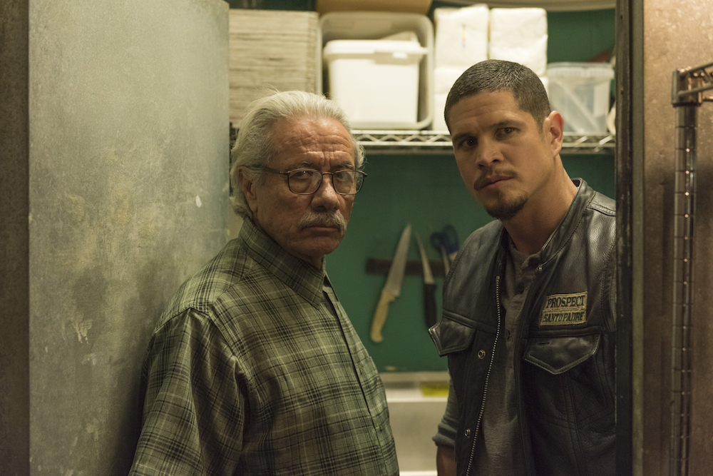 MAYANS M.C. -- Pictured: Edward James Olmos as Felipe Reyes, JD Pardo as EZ Reyes. CR: Prashant Gupta/FX