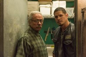 MAYANS M.C. -- Pictured: Edward James Olmos as Felipe Reyes, JD Pardo as EZ Reyes. CR: Prashant Gupta/FX
