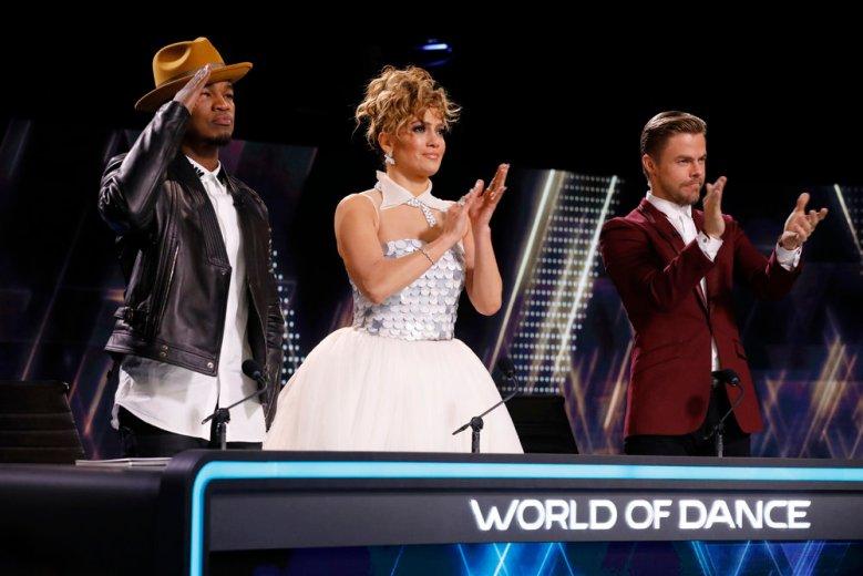 "WORLD OF DANCE -- ""Duels"" -- Pictured: (l-r) Ne-Yo, Jennifer Lopez, Derek Hough -- (Photo by: Trae Patton/NBC)"
