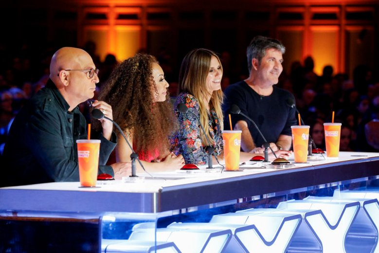 "AMERICA'S GOT TALENT -- ""Auditions 6"" Episode 1306 -- Pictured: (l-r) Howie Mandel, Mel B, Heidi Klum, Simon Cowell -- (Photo by: Trae Patton/NBC)"