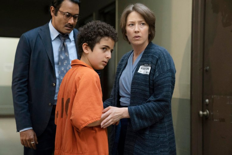 "THE SINNER -- ""Part III"" Episode 203 -- Pictured: (l-r) Elisha Henig as Julian Walker, Carrie Coon as Vera Walker -- (Photo by: Peter Kramer/USA Network)"