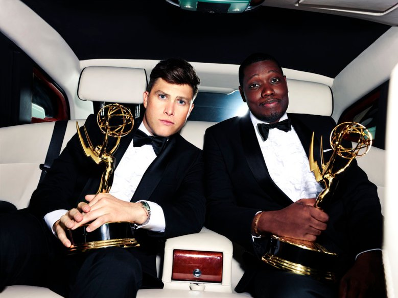 """PRIMETIME EMMY AWARDS -- """"The 70th Primetime Emmy Awards"""" -- Pictured: (l-r) Hosts Colin Jost and Michael Che -- (Photo by: Mary Ellen Matthews/NBC)"""