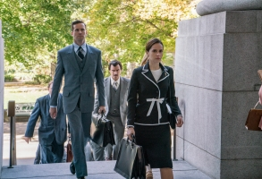 (l to r.) Armie Hammer as Marty Ginsburg, Justin Theroux as Melvin Wulf, and Felicity Jones as Ruth Bader Ginsburg star in Mimi Leder's ON THE BASIS OF SEX, a Focus Features release.