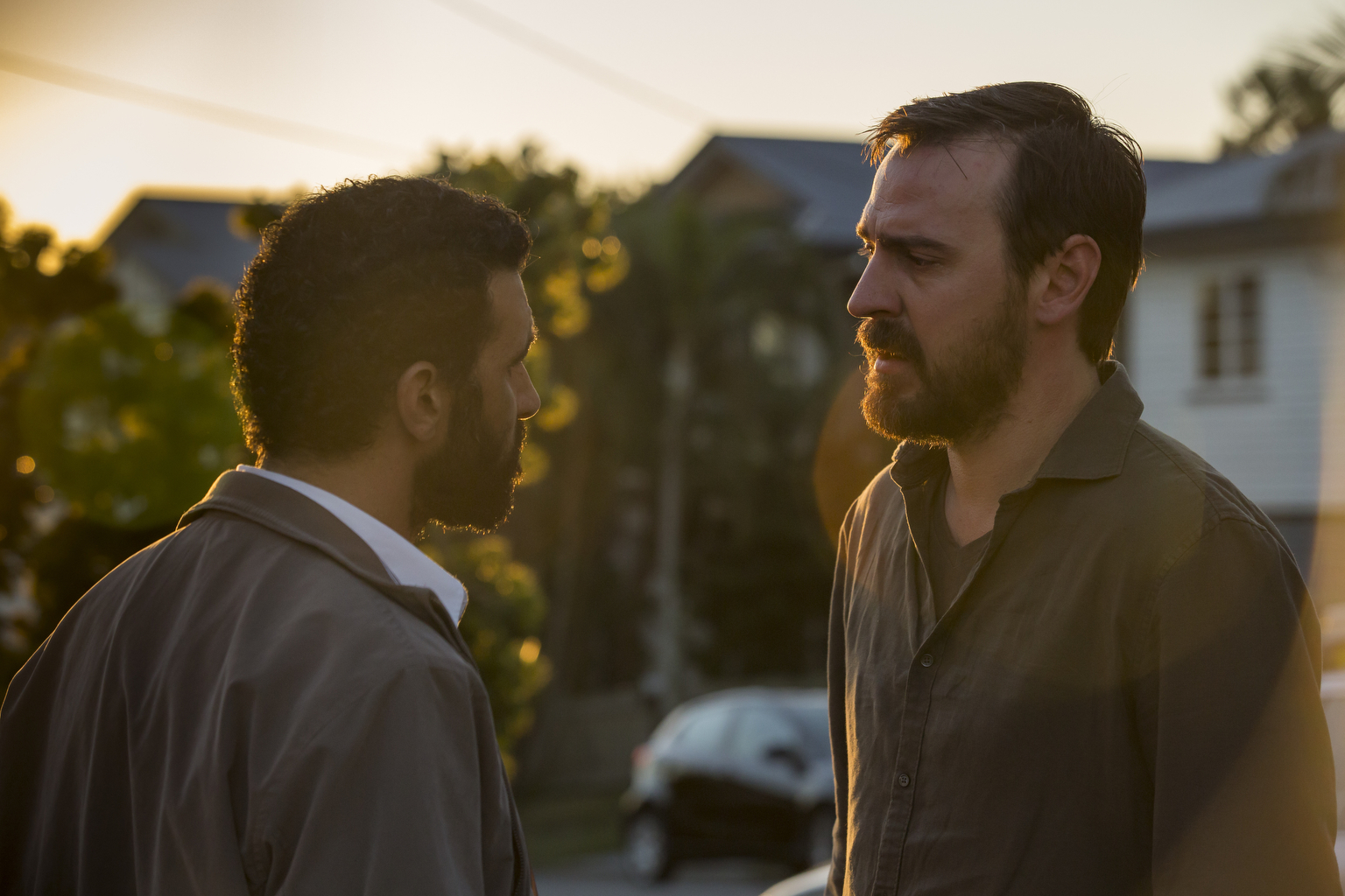SAFE HARBOUR - Episode 4 - The truth leads to a life in danger, as Ismail Ð blinded by grief Ð tries to get retribution, leading to a final confrontation and the possibility of new beginnings. Ismail Al-Bayati (Hazem Shammas) and Ryan Gallagher (Ewen Leslie) shown. (Photo by: Vince Valitutti/Hulu)