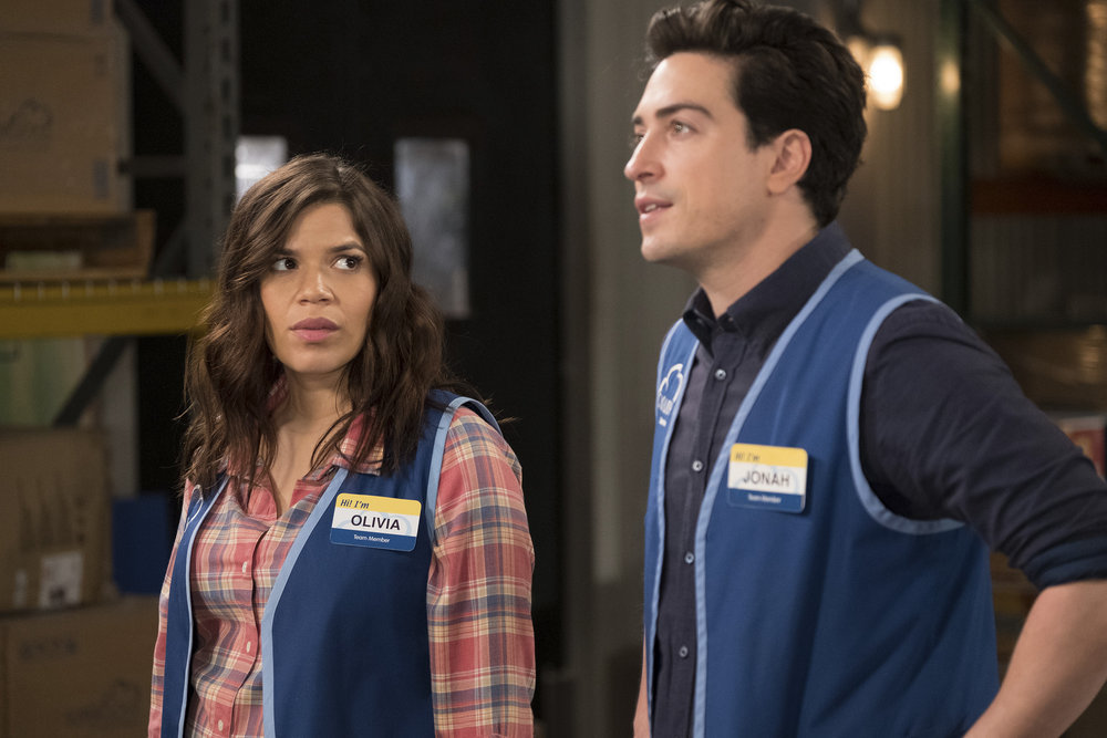 """SUPERSTORE -- """"Town Hall"""" Episode 322 -- Pictured: (l-r) America Ferrera as Amy, Ben Feldman as Jonah -- (Photo by: Colleen Hayes/NBC)"""