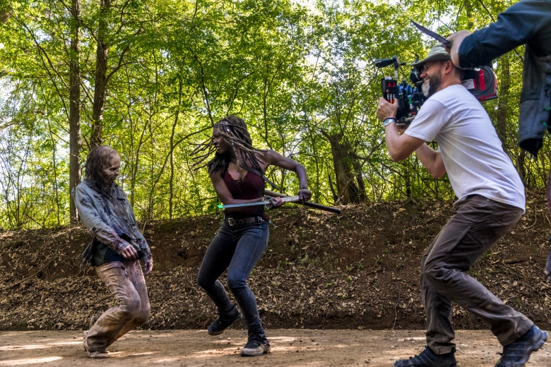 BTS, Danai Gurira as Michonne - The Walking Dead _ Season 9, Episode 1 - Photo Credit: Jackson Lee Davis/AMC