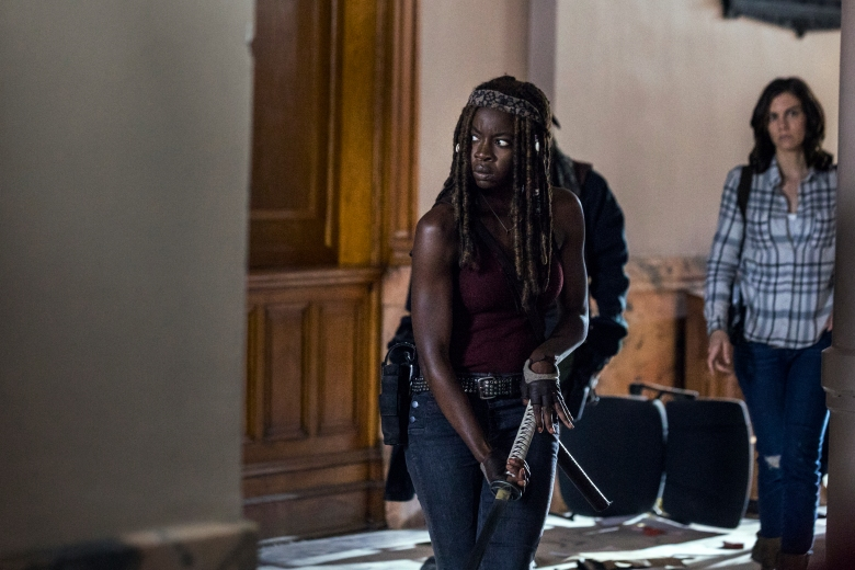 Danai Gurira as Michonne, Lauren Cohan as Maggie Rhee, Khary Payton as Ezekiel, Melissa McBride as Carol Peletier - The Walking Dead _ Season 9, Episode 1 - Photo Credit: Jackson Lee Davis/AMC