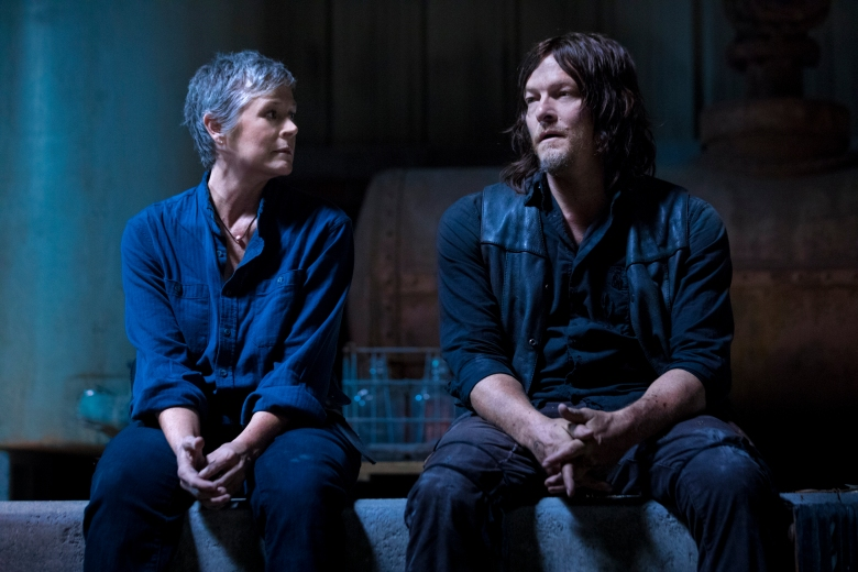 Norman Reedus as Daryl Dixon, Melissa McBride as Carol Peletier - The Walking Dead _ Season 9, Episode 1 - Photo Credit: Jackson Lee Davis/AMC