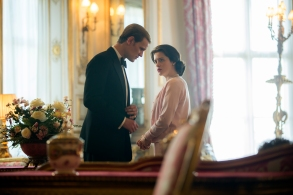 The Crown(L to R) Prince Philip, ElizabethElizabeth and Philip discuss Charles' education