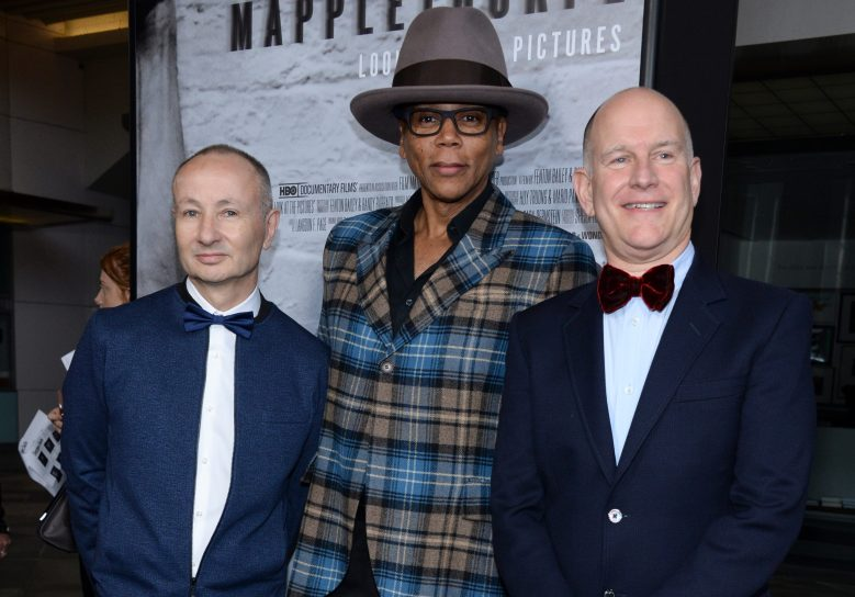 "Fenton Bailey (L-R), Rue Paul and Randy Barbato attend the premiere of ""Mapplethorpe: Look at the Pictures"" at the Bing Theater at LACMA, in Los Angeles, CalifLA Premiere of ""Mapplethorpe: Look at the Pictures"" - Arrivals, Los Angeles, USA"