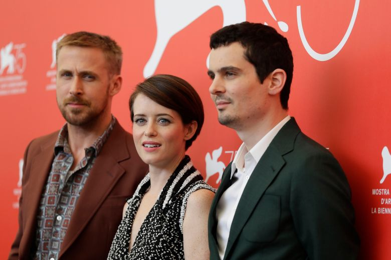 Ryan Gosling, Claire Foy, Damien Chazelle. Actors Ryan Gosling, from left, Claire Foy and director Damien Chazelle pose for photographers at the photo call for the film 'First Man' at the 75th edition of the Venice Film Festival in VeniceFilm Festival 2018 First Man Photo Call, Venice, Italy - 29 Aug 2018