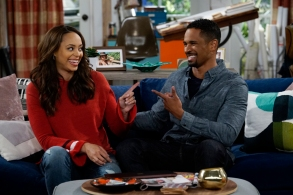 """Happy Together"" Amber Stevens West, and Damon Wayans Jr. CBS"