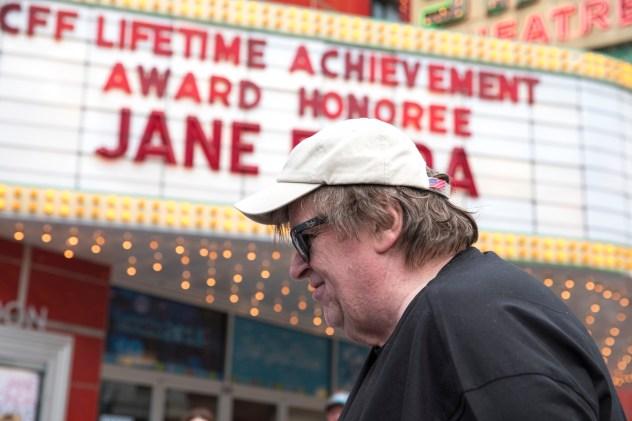 Jane Fonda and Michael Moore at