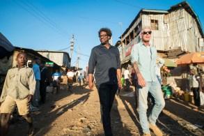 NAIROBI, KENYA - FEB 25: Anthony Bourdain with W. Kamau Bell in the Kibera slums in Nairobi, Kenya on February 25, 2018. (photo by David Scott Holloway)