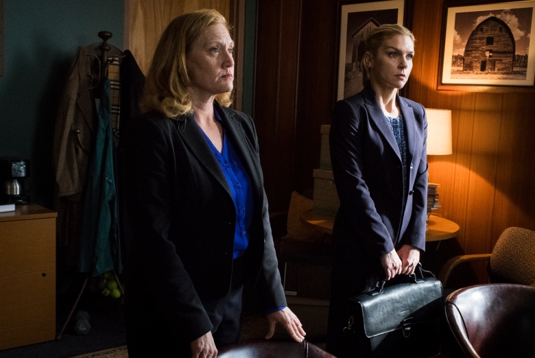 Julie Pearl as ADA Suzanne Ericsen, Rhea Seehorn as Kim Wexler - Better Call Saul _ Season 4, Episode 8 - Photo Credit: Nicole Wilder/AMC/Sony Pictures Television