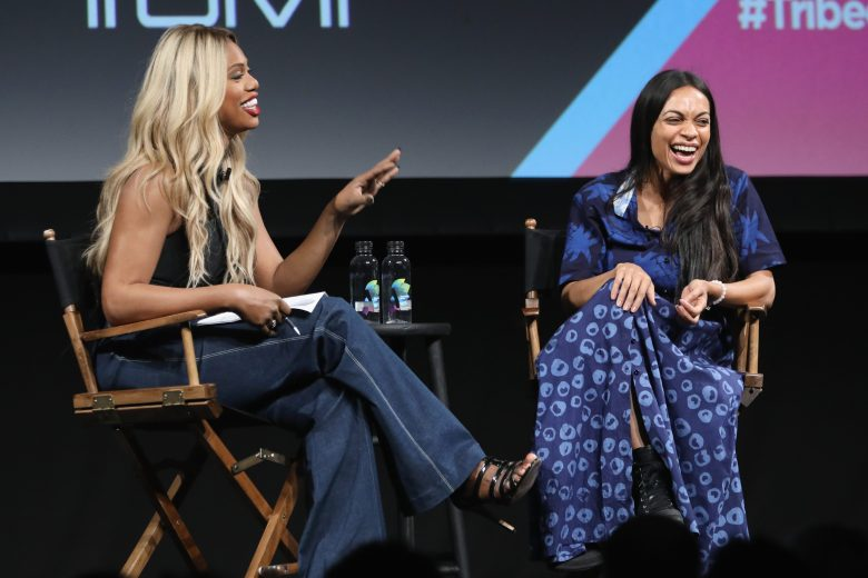 NEW YORK, NY - SEPTEMBER 22: Laverne Cox and Rosario Dawson speak onstage during Tribeca TV Festival's Tribeca Talks: The Journey Inspired By TUMI with Rosario Dawson And Laverne Cox on September 22, 2018 in New York City. (Photo by Cindy Ord/Getty Images for Tribeca TV Festival)