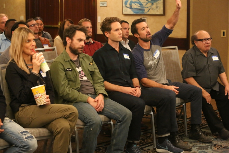 "IT'S ALWAYS SUNNY IN PHILADELPHIA -- ""Time's Up For The Gang"" – Season 13, Episode 4 (Airs September 26, 10:00 pm e/p) Pictured: (l-r) Kaitlin Olson as Dee, Charlie Day as Charlie, Glenn Howerton as Dennis, Rob McElhenney as Mac, Danny DeVito as Frank. CR: Patrick McElhenney/FXX"