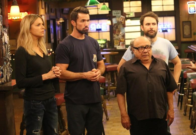 IT'S ALWAYS SUNNY IN PHILADELPHIA - Season 13.  Pictured: Kaitlin Olson as Dee, Rob McElhenney as Mac, Danny DeVito as Frank, Charlie Day as Charlie. CR: Patrick McElhenney/FX