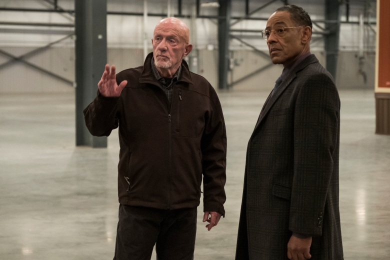 "Giancarlo Esposito as Gustavo ""Gus"" Fring, Jonathan Banks as Mike Ehrmantraut - Better Call Saul _ Season 4, Episode 6 - Photo Credit: Nicole Wilder/AMC/Sony Pictures Television"