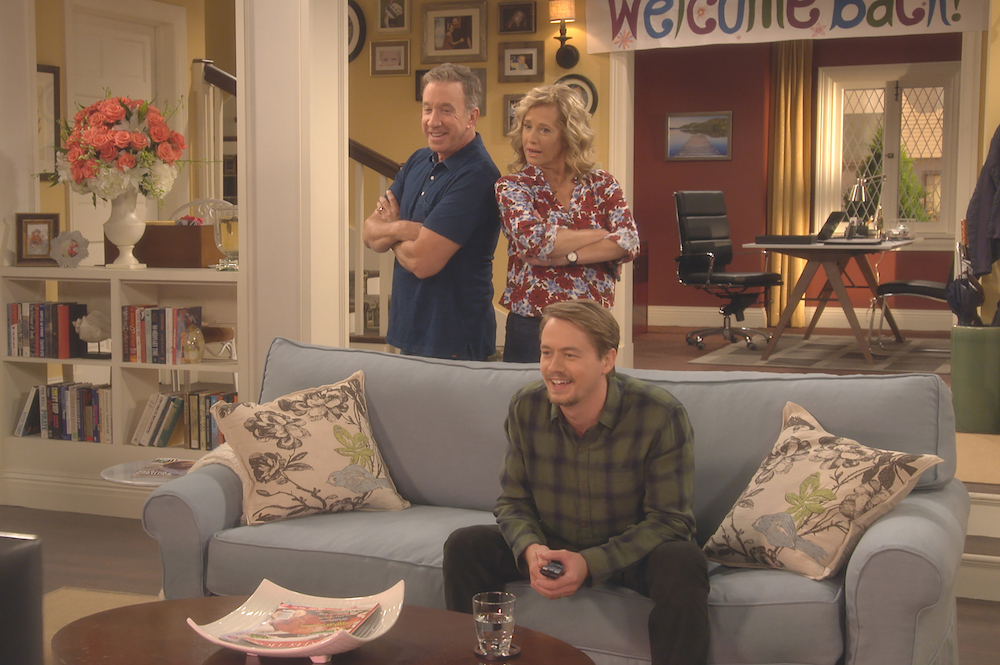 "LAST MAN STANDING: L-R: Tim Allen, Nancy Travis and Christoph Sanders in the ""Welcome Baxter"" season premiere episode of LAST MAN STANDING airing Friday, September 28 (8:00-8:30 PM ET/PT) on FOX. CR: FOX. © 2017 FOX Broadcasting."