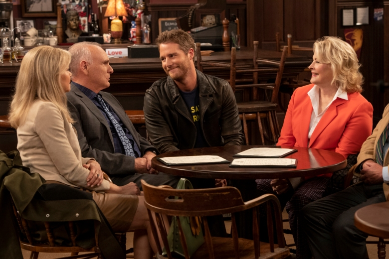 "Faith Ford, Joe Regalbuto, Jake McDorman, and Candice Bergen in ""Murphy Brown."""