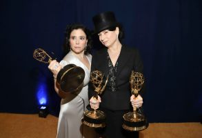 """Alex Borstein, Amy Sherman-Palladino. Alex Borstein, winner of the awards for outstanding supporting actress in a comedy series for """"The Marvelous Mrs. Maisel"""" and outstanding character voice-over performance for """"Family Guy"""", left, and Amy Sherman-Palladino, winner of the awards for outstanding writing for a comedy series for """"The Marvelous Mrs. Maisel"""" and outstanding directing for a comedy series for """"The Marvelous Mrs. Maisel"""", at the 70th Primetime Emmy Awards, at the Microsoft Theater in Los Angeles70th Primetime Emmy Awards - Entry Lounge and Winners Walk, Los Angeles, USA - 17 Sep 2018"""
