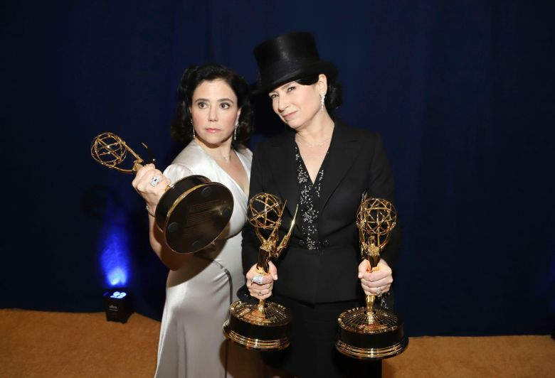 "Alex Borstein, Amy Sherman-Palladino. Alex Borstein, winner of the awards for outstanding supporting actress in a comedy series for ""The Marvelous Mrs. Maisel"" and outstanding character voice-over performance for ""Family Guy"", left, and Amy Sherman-Palladino, winner of the awards for outstanding writing for a comedy series for ""The Marvelous Mrs. Maisel"" and outstanding directing for a comedy series for ""The Marvelous Mrs. Maisel"", at the 70th Primetime Emmy Awards, at the Microsoft Theater in Los Angeles70th Primetime Emmy Awards - Entry Lounge and Winners Walk, Los Angeles, USA - 17 Sep 2018"