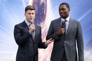 Colin Jost and Michael CheEmmy carpet roll out, Los Angeles, USA - 13 Sep 2018