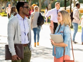 """THE GOOD PLACE -- """"Everything is Bonzer! Pt. 1"""" Episode 301 -- Pictured: (l-r) William Jackson Harper as Chidi, Kristen Bell as Eleanor -- (Photo by: Justin Lubin/NBC)"""